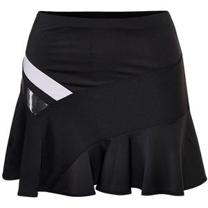 Hyper Wave Asymmetrical Black Tennis Skirt